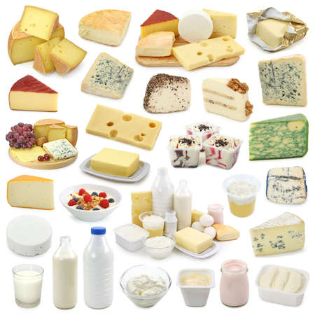milk cheese:  Dairy products collection isolated on white background