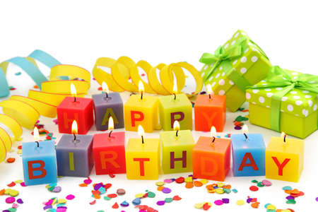 Birthday candles isolated on white background photo