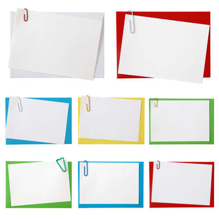 paperclips:  Paper envelopes with blank note on white