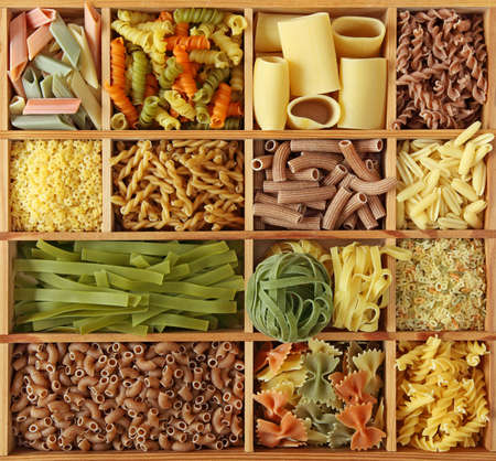assortment:  Italian pasta collection in wooden box