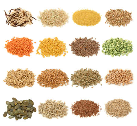 Cereal,grain and seeds collection isolated on white background. photo