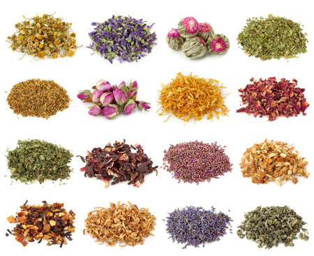 de hierbas: Colecci�n de t� de flores y hierbas aislado sobre fondo blanco