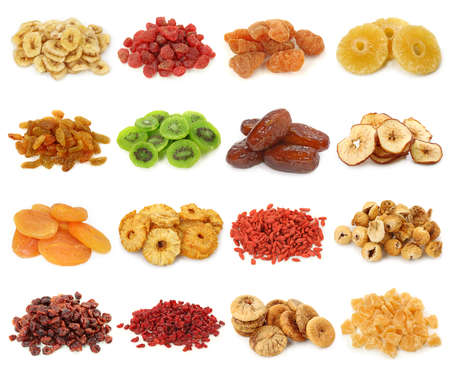 the green papaya:  Dried fruits collection Stock Photo