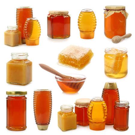 jarra:  Colecci�n de miel aislado sobre fondo blanco