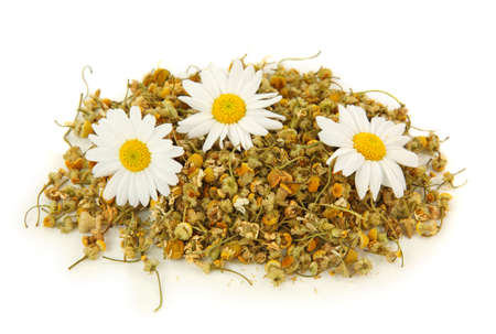 nontraditional:   Dried chamomile tea isolated on white background