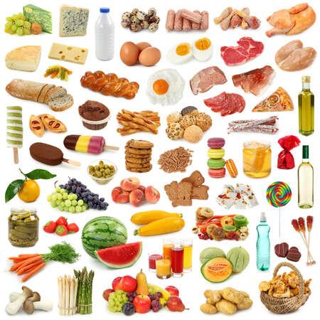 carne de pollo: Colecci�n de alimentos aislado sobre fondo blanco