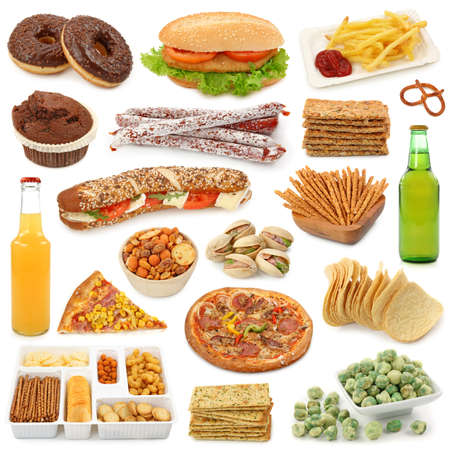 Junk food collection isolated on white background Stock Photo - 8394658