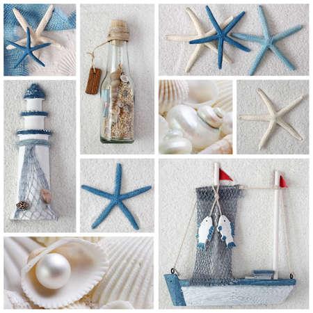 Collage of summer sea stars photo