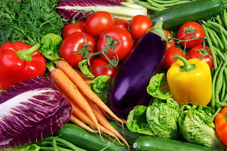 Assortment of fresh vegetables close up photo