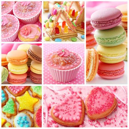 comida chatarra: Collage de colores pasteles Foto de archivo