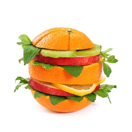 Fruit sandwich isolated on white background photo