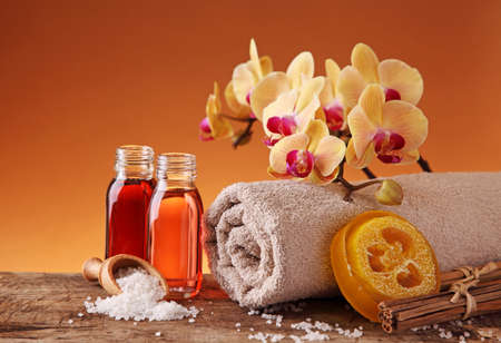 Spa still life with essential oils and orchid Stock Photo - 9326181