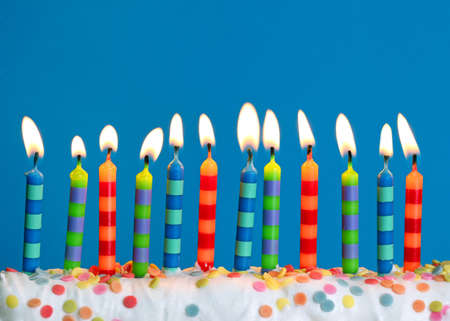 birthday candles: Birthday candles on blue background