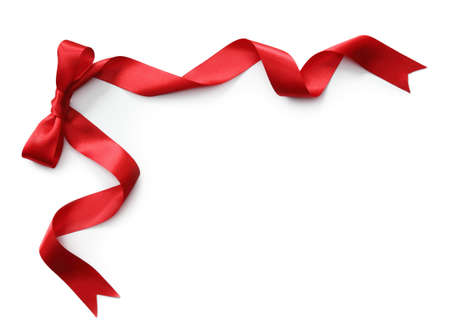 curled: Red satin ribbon with bow isolated on white background Stock Photo