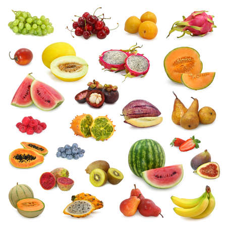 mixed fruits collection isolated on white background photo