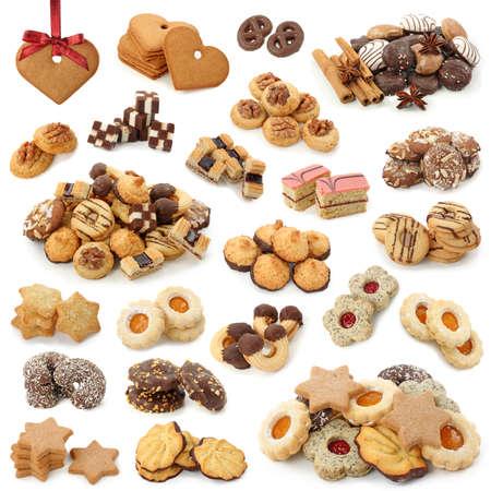 cioccolato natale: Collezione di dolci di Natale isolato su sfondo bianco