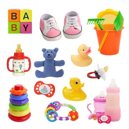 sonajero: colecci�n aislado en un blanco para beb�s, recortar, shadeless