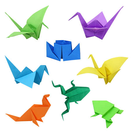 crane origami: Japanese traditional origami images on white