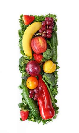 alphabet letter: Fruit and vegetable alphabet - letter I
