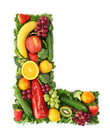 letter l: Fruit and vegetable alphabet - letter L