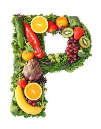 Fruit and vegetable alphabet - letter P photo