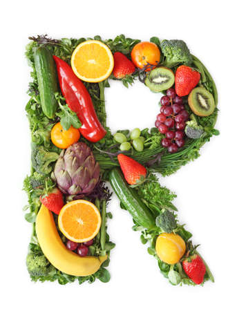 Fruit and vegetable alphabet - letter R Stock Photo - 9402388