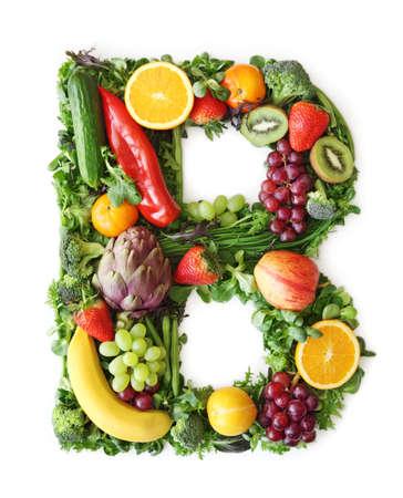 b: Fruit and vegetable alphabet - letter B Stock Photo