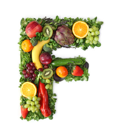 alphabet: Fruit and vegetable alphabet - letter F Stock Photo