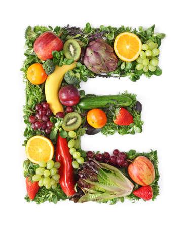 Alfabeto de frutas y hortalizas - letra e Foto de archivo - 9402385