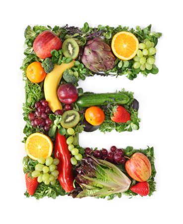 Fruit and vegetable alphabet - letter E photo