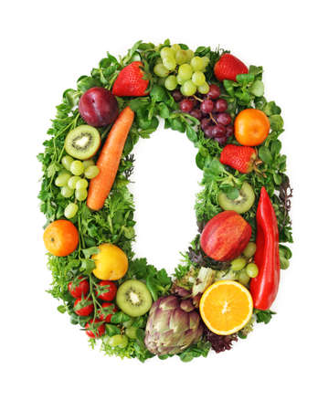 Fruit and vegetable alphabet - letter O photo