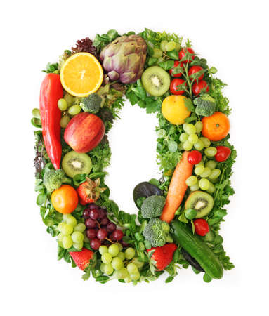 letter q: Fruit and vegetable alphabet - letter Q Stock Photo