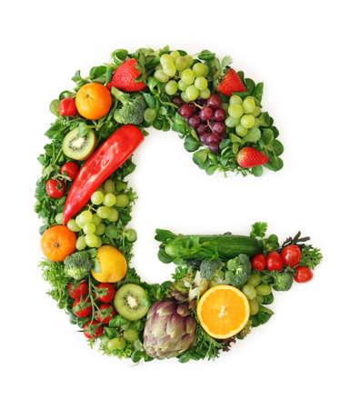 g alphabet: Fruit and vegetable alphabet - letter G Stock Photo