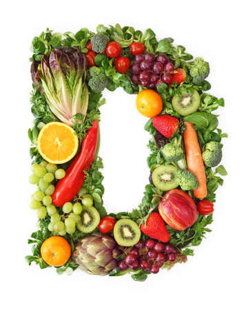 and vitamin: Fruit and vegetable alphabet - letter D
