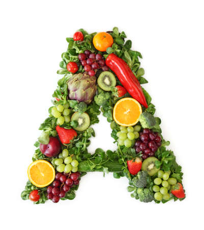 letter alphabet: Fruit and vegetable alphabet - letter A Stock Photo