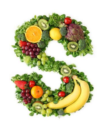 letra s: Alfabeto de frutas y hortalizas - letra s Foto de archivo