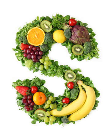 s alphabet: Fruit and vegetable alphabet - letter S Stock Photo