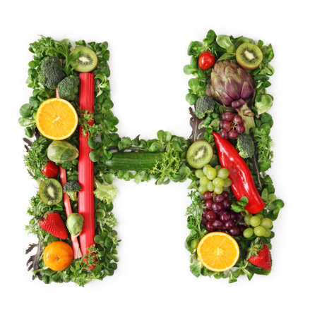 fruit mix: Fruit and vegetable alphabet - letter H Stock Photo
