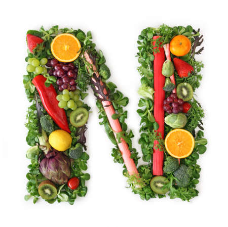 Fruit and vegetable alphabet - letter N Stock Photo - 9402360