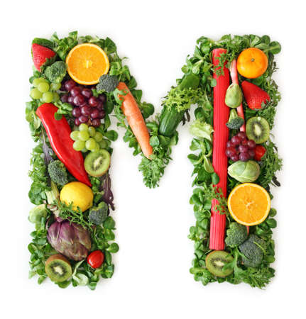 alphabet: Fruit and vegetable alphabet - letter M Stock Photo