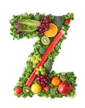 fruit mix: Fruit and vegetable alphabet - letter Z Stock Photo