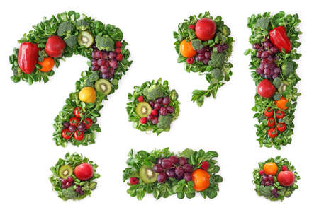 signo de admiracion: Alfabeto de frutas y hortalizas - puntuaci�n Foto de archivo