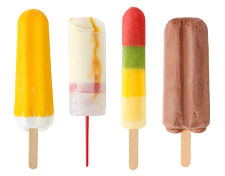 ice cream on a stick: Helado de cuatro colores  Foto de archivo