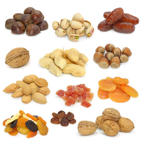 nuts and dried fruits collection on white photo