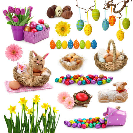 easter decorations: Easter collection isolated on white background Stock Photo