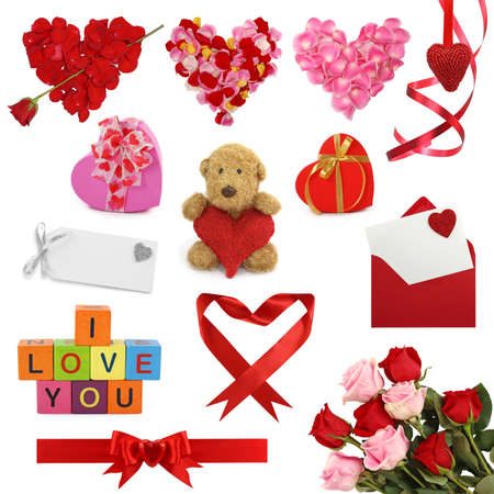 valentin: Valentines day collection isolated on white background