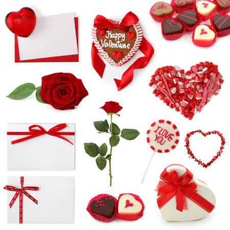 Valentine collection isolated on white background photo