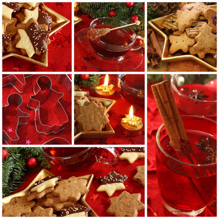 Christmas cakes and drink collage photo