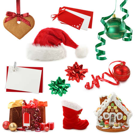 Christmas collection isolated on white background photo