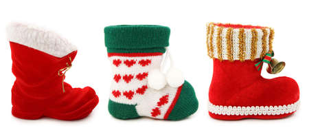 Empty christmas boots isolated on white background photo